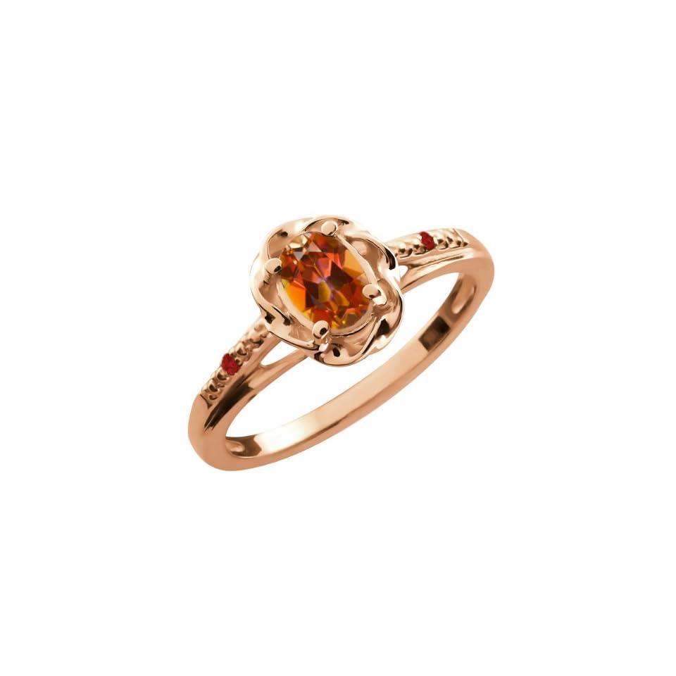 0.57 Ct Oval Ecstasy Mystic Topaz Red Garnet 18K Rose Gold Ring