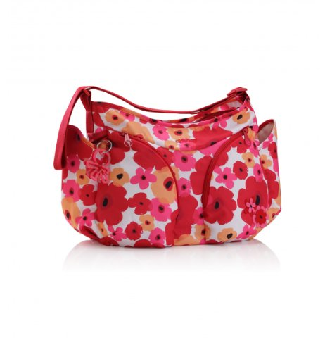 okiedog Mondo Messenger Diaper Bag Flower Power Red - 1