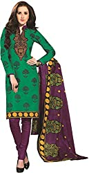 Tripssy Women's Cotton Printed Unstitched Salwar Suit (tr_dm_08, Maroon And Black)
