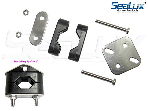 SeaLux Rail Mount clamp Bracket Set with Stainless Steel Mount Plate and Nylon Brackets for 7/8