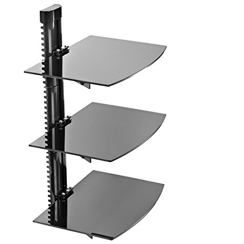 3 Shelf Floating Wall Mount DVD TV Component AV Console Cable Glass Stand (Extra Wide Floating Shelves compare prices)