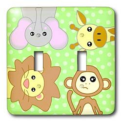 Janna Salak Designs Jungle Animals - Curious Baby Animals - Lion Monkey Giraffe Elephant on Green Background - Light Switch Covers - double toggle switch