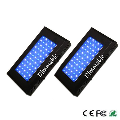 2Pks Expower Aquarium Coral Reef Tank White Blue Led Lamp Grow Light 165W Dimmable One-Year Warranty