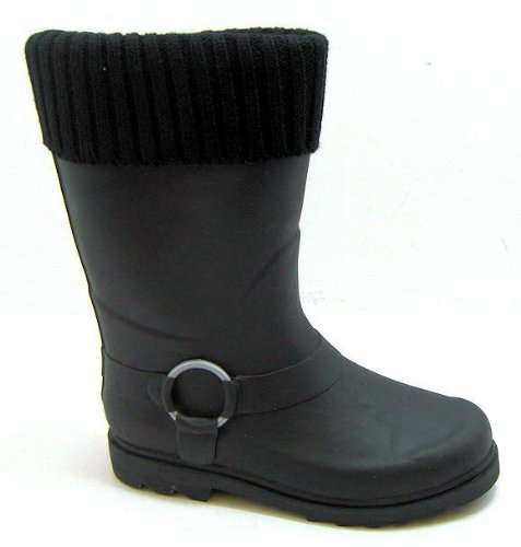 Womens & Girls Plain Black Festival Concert Slip On Wellington Boots - Available in a Range of Sizes