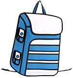 Jeansian Salto 3D Estilo Dibujos Animados Papel Mochila 3D Jump Style Cartoon Paper Comic Backpack WBH008 White&Blue