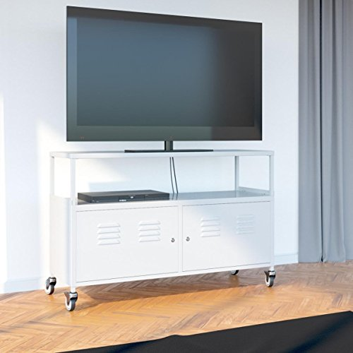 tuscany metal lockable tv stand cabinet media storage with rolling casters white office. Black Bedroom Furniture Sets. Home Design Ideas