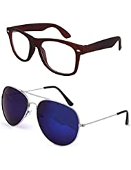 Sheomy Unisex Combo Pack Of Transparent Brown Wayfarer Sunglasses And Silver Blue Mercury Aviator Sunglasses For...