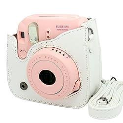 NodArtisan Light white PU Leather fuji mini case for Fujifilm Instax Mini 8 Case bag