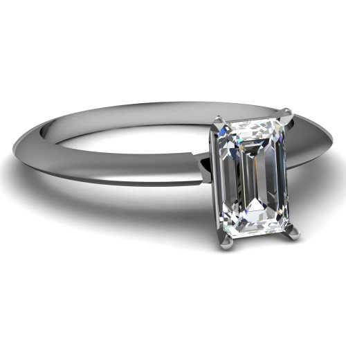 Fascinating Diamonds 0.60 Ct Emerald Cut Flawless Diamond Solitaire Knife Edge Engagement Ring F-Color