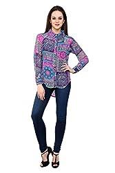 Shilpkala Women's Blue Digital Print Full Sleeve Shirt ( Size-Medium)