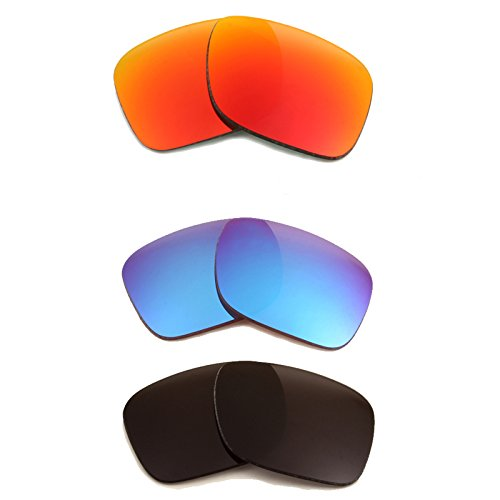 New SEEK OPTICS Replacement Lenses for Oakley HOLBROOK - Black & Red, Blue Mirror