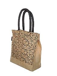 Foonty tote women Brown medium jute lunch bag (FJUWB6319)