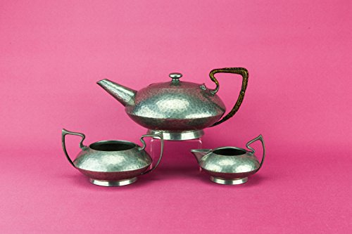Arts Crafts Antique Hammered Pewter Hutton TEA SET Gift Stylish Grey Medium Early 1900s English LS (Pewter Tea Service compare prices)