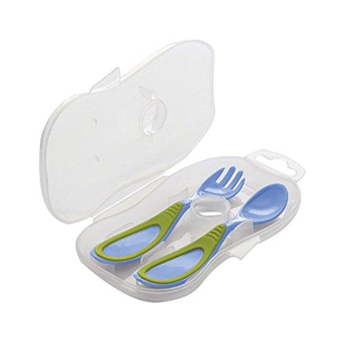 Nuvita 1407 cucchiaio e forchetta per bambini, con custodia, colore: blu