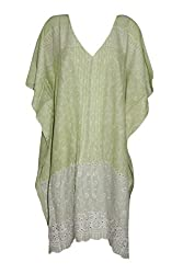 Indiatrendzs Women's Cotton Printed Green Casual Kaftan Style Top Chest : 76
