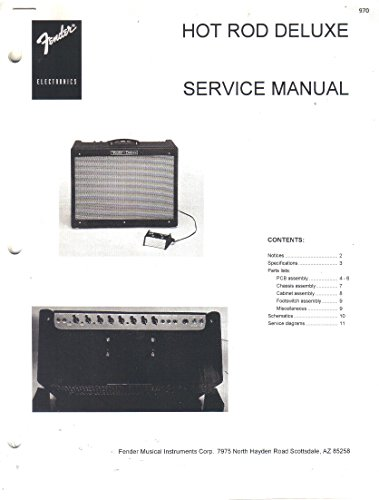 FENDER Hot Rod Deluxe Amplifier Service Manual Repair Guide (Fender Hot Rod Deluxe Footswitch compare prices)
