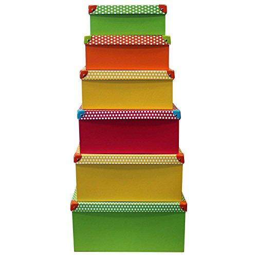 6-Stck-Deko-Karton-mit-Deckel-bunt-mit-Punkten-Stapelbox-Dekobox-Geschenkbox-Allzweckbox-Allzweckkiste-Box-Kiste-Aufbewahrungskiste-Aufbewahrungsbox-Boxenset