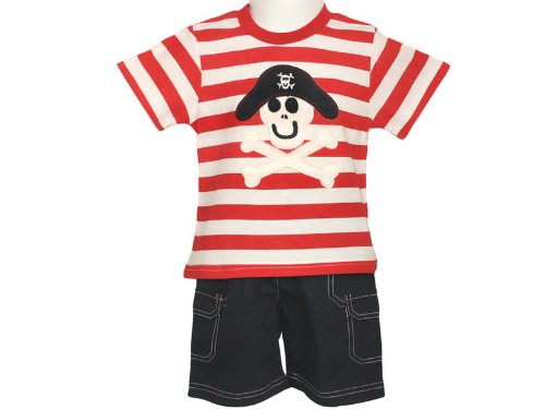 Togs By Teddy Baby Boys Pirate Top & Navy Blue Bermuda Shorts - 18-24