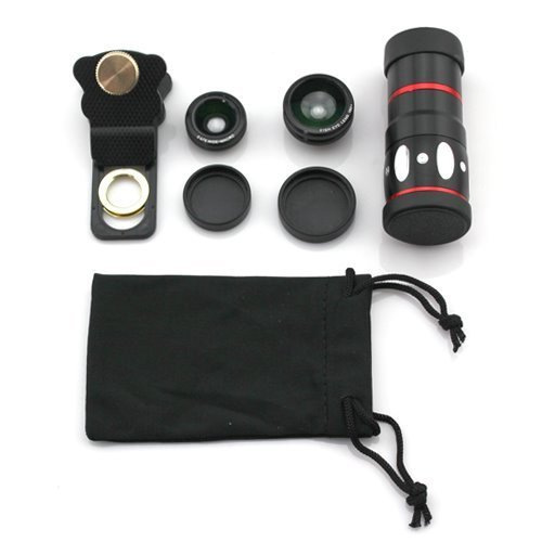 Shopping_Shop2000 Universal Clamp Clip Camera Lens 10X Optical Zoom Telescope + Fish Eye Lens + Wide Angle + Micro Lens 4-In-1 Kit For Iphone 6 6 Plus 5 5C 5S 4S 4 Ipad Mini Ipad 4 3 2 Samsung Galaxy S5 S4 S3 S2 Note 3 2 1 Sony Xperia Lg Blackberry Motoro
