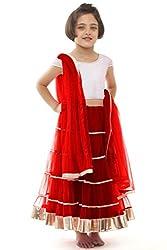 new arrival designer red net partywear kids lehenga choli (28 inches)