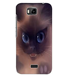 ColourCraft Scary Cat Design Back Case Cover for HUAWEI HONOR BEE