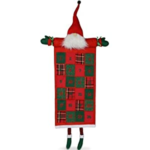 Hanging Red & Green Fabric Father Christmas Advent Calendar