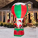 CHRISTMAS DECORATION LAWN YARD INFLATABLE SANTA IN HOT AIR BALLOON 12' TALL