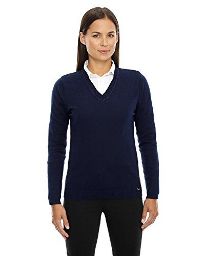 North End Merton Ladies' Soft Touch V-Neck Sweater>Xs Classic Navy 71010