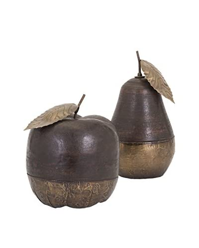 Set of 2 Wood And Brass Apple & Pear