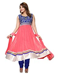 Divinee Old Rose And Blue Net And Velvet Readymade Anarkali Suit