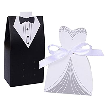 100pcs Bride Dress &Groom Tuxedo Wedding Candy Box Party Gift Box with Ribbon