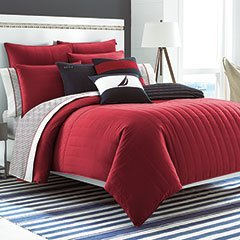 Nautica Mainsail Quilted Comforter Set with Logo Patch, Twin, Red