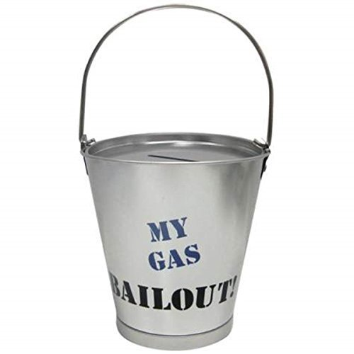 4.25 Inch Gas Bailout Aluminum Silver Bucket Savings Piggy Bank - 1