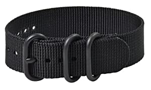 Premium 22mm 3-ring PVD Solid Black Urban Military Nylon Nato Watch Strap G-10 Fits All Watches!!!