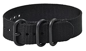 Premium 24mm 3-ring PVD Solid Black Urban Military Nylon Nato Watch Strap G-10 Fits All Watches!!!