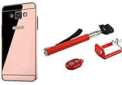 Novo Style Back Cover Case with Bumper Frame Case for Samsung Galaxy A510 A5 (2016) Rose Gold + Selfie Stick with Adjustable Phone Holder and Bluetooth Wireless Remote Shutter