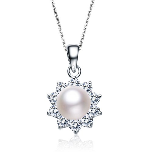 Flower Style Sterling 925 Silver Pendant with Round Pearl Center & CZ Diamonds Outline - Incl. ClassicDiamondHouse Free Gift Box & Cleaning Cloth