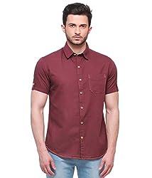 Jogur Mehroon Color Half Sleeves Solid Casual Shirt