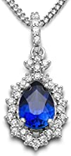 Byjoy 925 Sterling Silver Pear Shaped Sapphire Pendant on a Curb Chain of 45cm BAE270N
