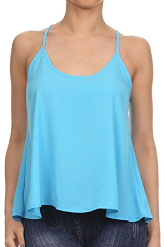 Junior's Summer Chiffon Sleeveless Swing Vest Cami Camisole Tank Top shirt,Blue L (Blue Cropped Tank compare prices)