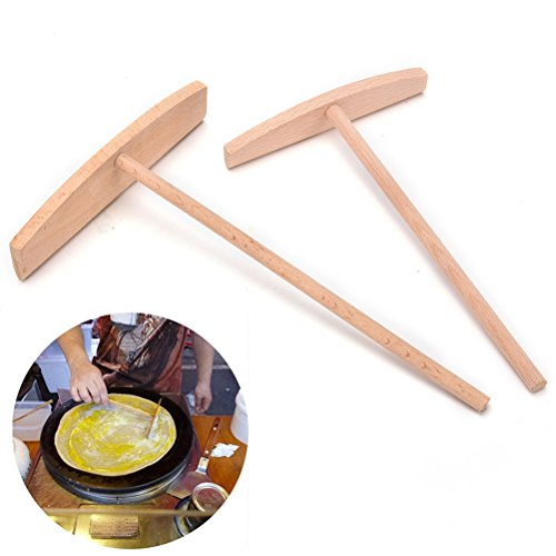 2 Pcs Crepe Maker Pancake Batter Wooden Spreader Stick Home Kitchen Tool Kit Diy Use 2 Sizes (Tefal Crepe Pan compare prices)