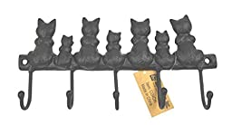 Lulu Decor, Cast Iron Seven Cat Key Hooks (Vintage Black)
