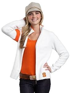 NCAA Syracuse Kashwere U 2-Tone Motorcycle Jacket, White Orange, Large 8-10 by Kashwere U