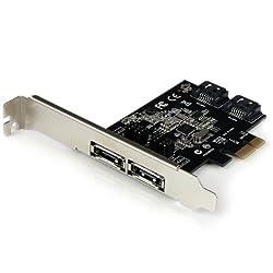 StarTech.com 2 Port PCI Express SATA 6 Gbps eSATA Controller Card - Dual Port PCIe SATA III Card - 2 Internal/2 External Card PEXESAT322I