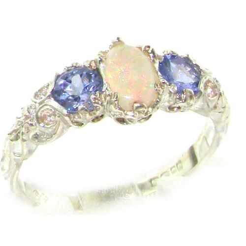 Ladies Solid Sterling Silver Natural Opal & Tanzanite