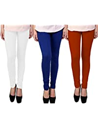 Snoogg Womens Ethnic Chic Inspired Churidar Leggings In White, Blue And Brown