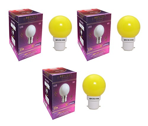 0.5W LED Bulbs (Yellow, Pack of 3)