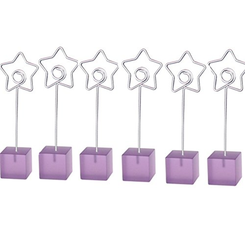M-Aimee 6 Pcs Cube Base Memo Clips Holder with Heart-shaped Clip Clasp for Displaying Photos Number Cards (Star Clip) (Star Clip, Purple) (Weddingtable Numbers compare prices)