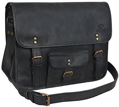 """Gusti Cuir studio """"Matt"""" sac à bandoulière sac messenger sac porté épaule sac en cuir véritable cabas en cuir vintage rétro besace université soirée noir 2U1-17-3"""