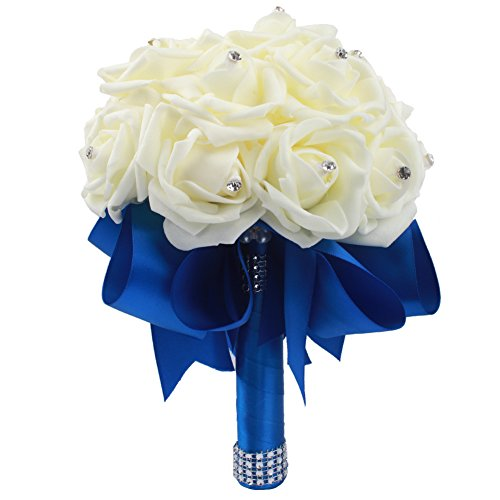 OurWarm Romantic Wedding Bride Bouquet Roses with Crystal Pearl Silk Artificial Flowers Bouquets (Deep Blue)